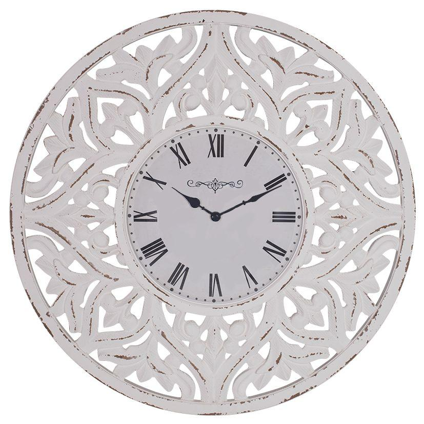 Debonaire Ornate Lace Carved Wood Round Wall Clock White 71cm CL030-Lace 1