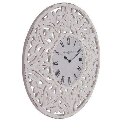 Debonaire Ornate Lace Carved Wood Round Wall Clock White 71cm CL030-Lace 3