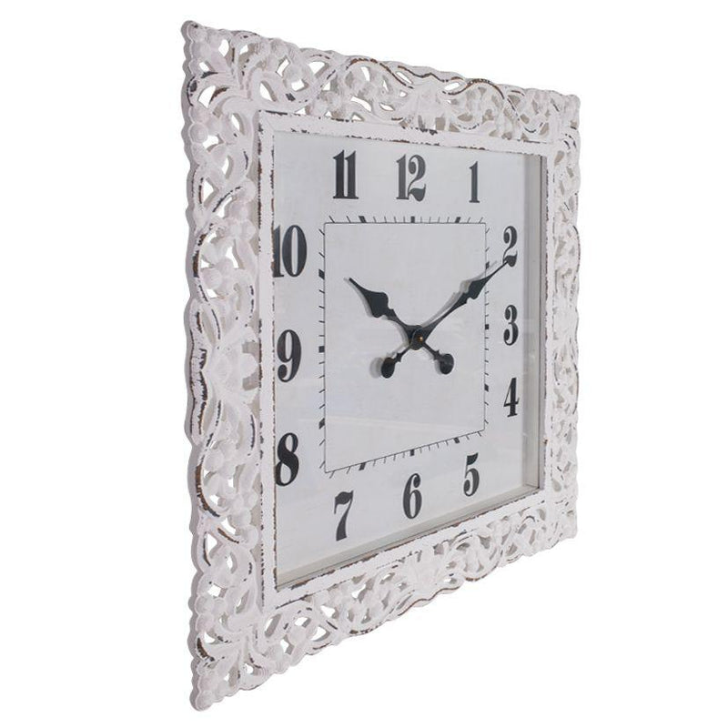 Debonaire Ornate Lace Carved Wood Square Glass Front Wall Clock White 71cm CL431-Lace 1