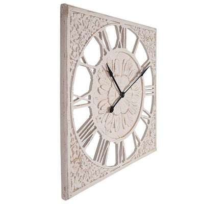 Debonaire Ornate Lace Carved Wood Square Roman Wall Clock 92cm CL212-Lace 2