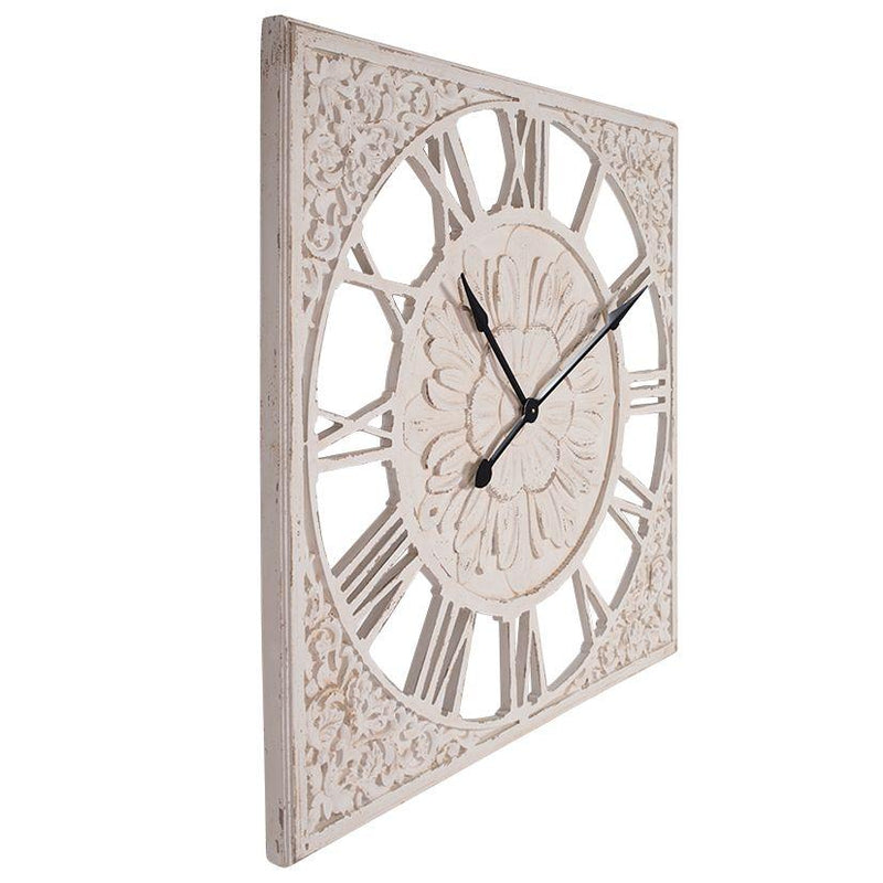 Debonaire Ornate Lace Carved Wood Square Roman Wall Clock 92cm CL212-Lace 1