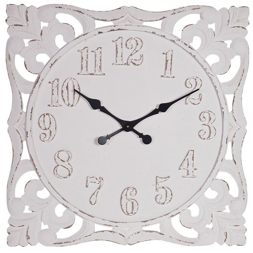 Debonaire Ornate Lace Carved Wood Square Wall Clock White 77cm CL023-Lace 1