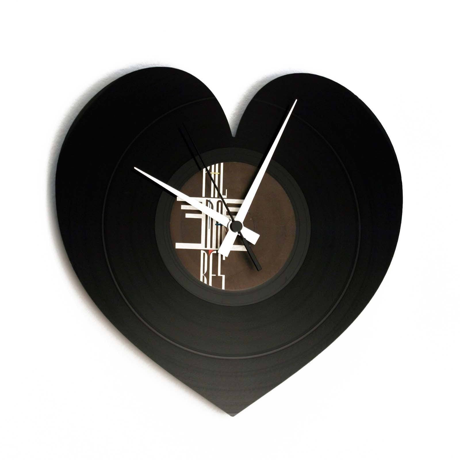 DISC'O'CLOCK Vinyl Record Heart Wall Clock 30cm DOC044