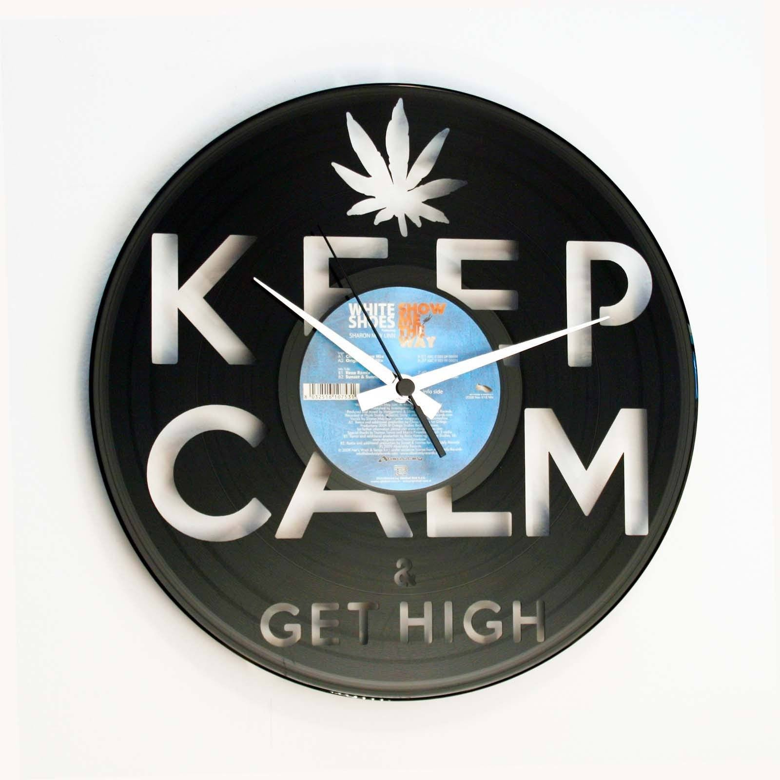 DISC'O'CLOCK Vinyl Record Keep Calm Get High Wall Clock 30cm DOC054