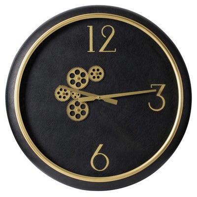 Divinity Braxton Exposed Gears Minimalist Wall Clock Black and Gold 62cm 44777 1