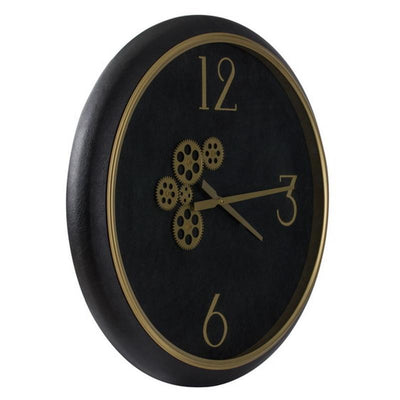 Divinity Braxton Exposed Gears Minimalist Wall Clock Black and Gold 62cm 44777 2