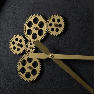 Divinity Braxton Exposed Gears Minimalist Wall Clock Black and Gold 62cm 44777 3
