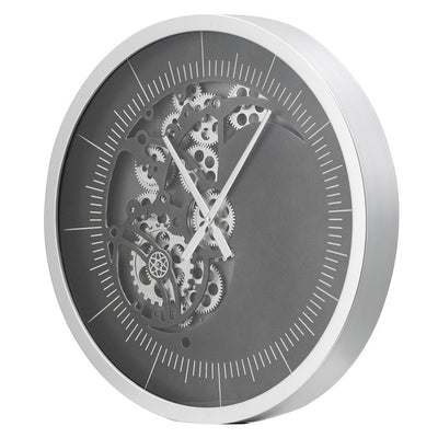 Divinity Minimalist Grey and Black Moving Cogs Wall Clock 58cm 48066 1