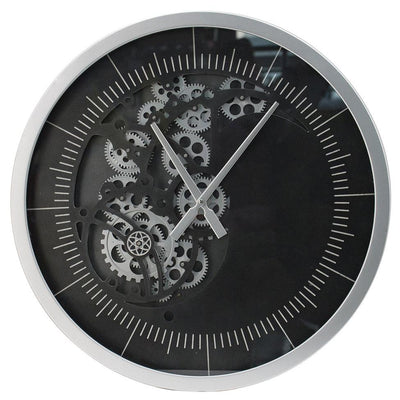 Divinity Minimalist Grey and Black Moving Cogs Wall Clock 58cm 48066 2