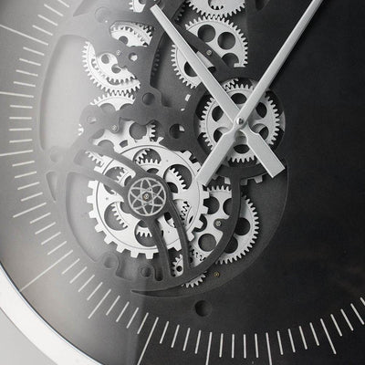 Divinity Minimalist Grey and Black Moving Cogs Wall Clock 58cm 48066 4
