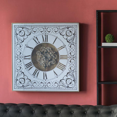 Divinity Square Framed 3D Wall Clock Brass 82cm 38536 5 5