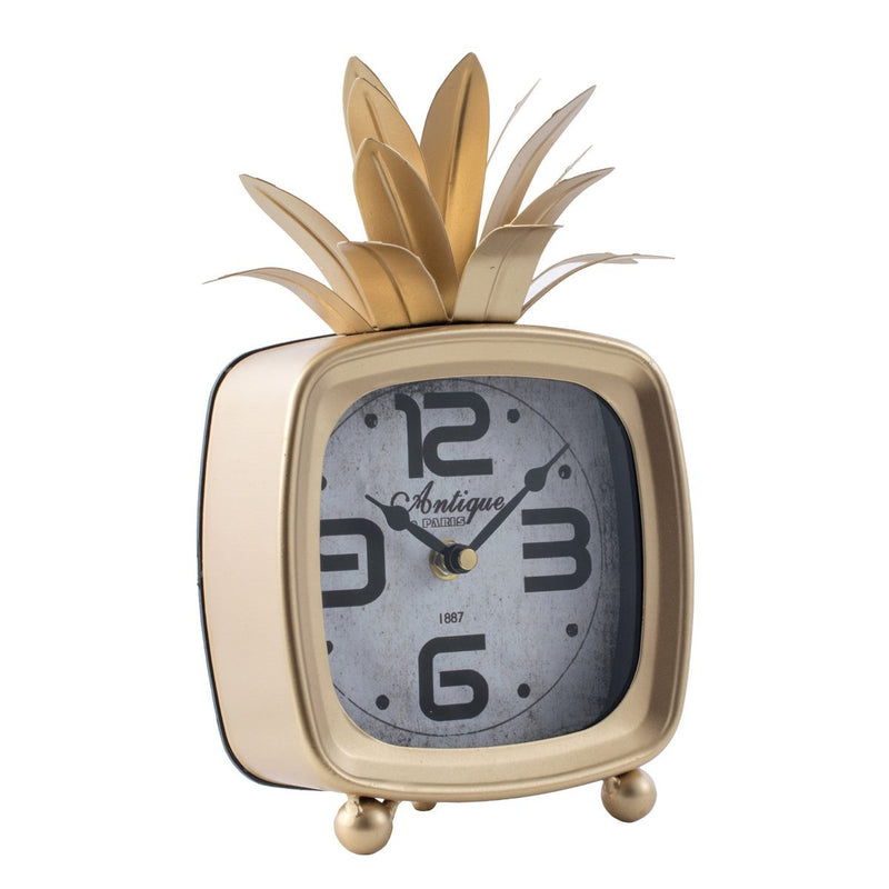 Square Pineapple Antique Metal Table Clock, 26cm