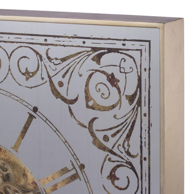 Divinity Square Framed 3D Wall Clock Brass 82cm 38536 5 Angle
