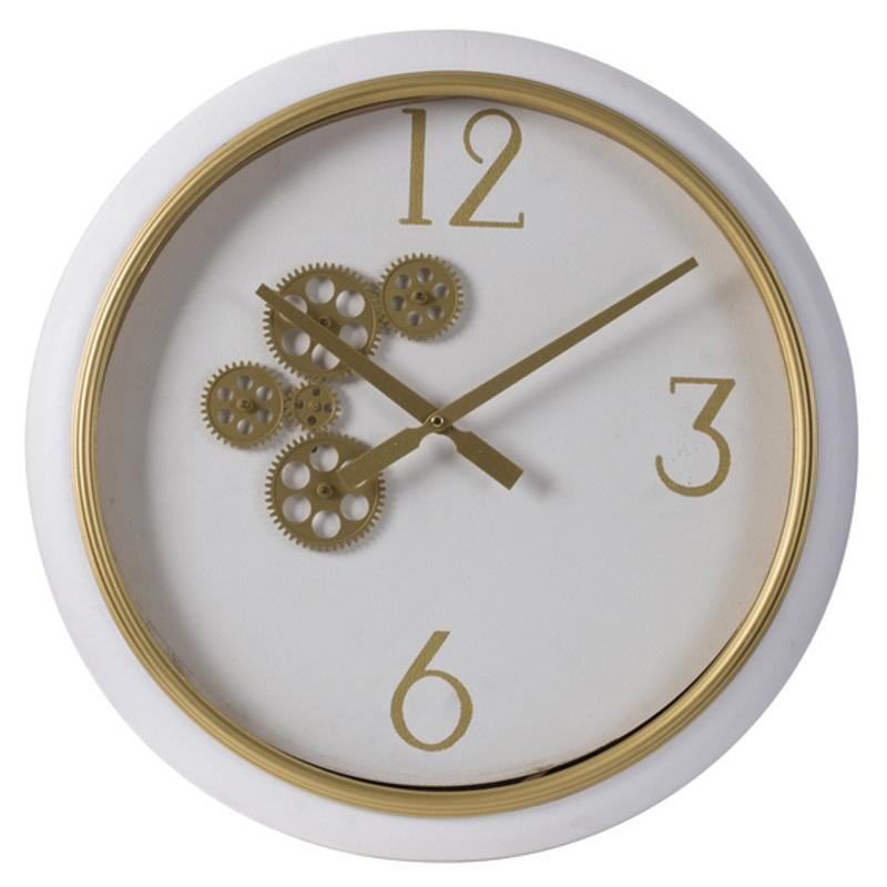Elegant Designs Braedon Rotating Gears Minimalist Wall Clock White and Gold 52cm 20812 1