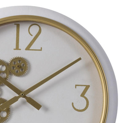 Elegant Designs Braedon Rotating Gears Minimalist Wall Clock White and Gold 52cm 20812 2