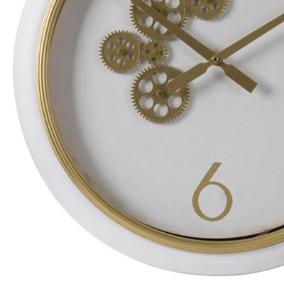Elegant Designs Braedon Rotating Gears Minimalist Wall Clock White and Gold 52cm 20812 3