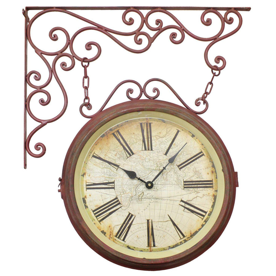 Elegant Designs Double Sided Station Red Metal Wall Clock, 64cm