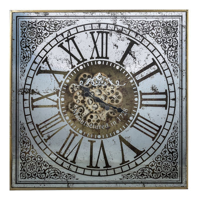 Sawyer Moving Cogs Mirror Metal Wall Clock 82cm Front 38536
