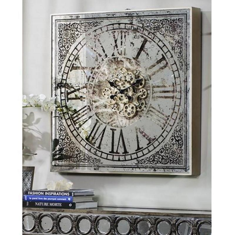 Sawyer Moving Cogs Mirror Metal Wall Clock 82cm Glamour 38536