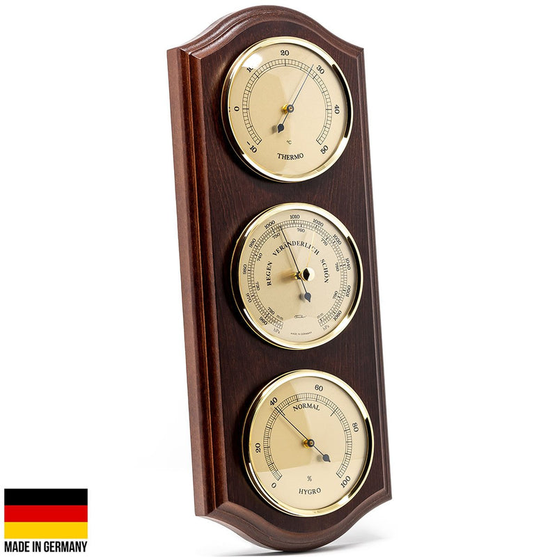 Fischer Martin Sheraton Polished Brass Weather Station Mahogany 40cm 9178 22 1