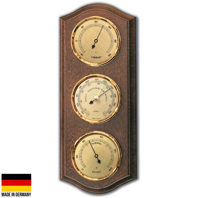 Fischer Martin Sheraton Polished Brass Weather Station, Walnut, 40cm