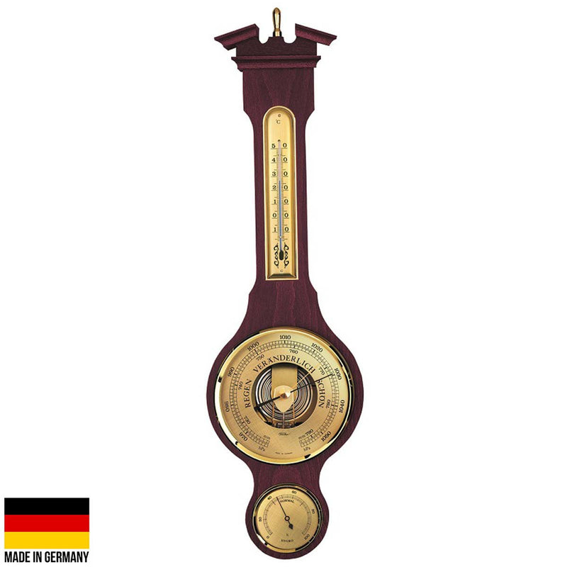 Fischer Olson Sheraton Polished Brass Weather Station, Mahogany, 54cm