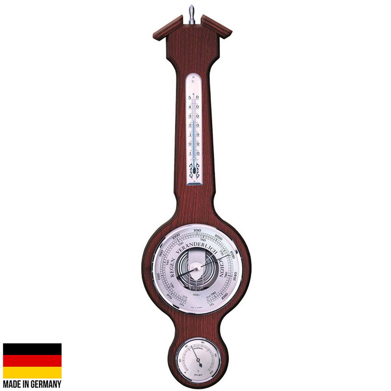 Fischer Taylor Sheraton Chromed Brass Weather Station, Mahogany, 56cm