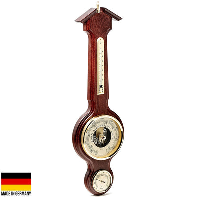 Fischer Taylor Sheraton Polished Brass Weather Station Mahogany 56cm 4673-22 1