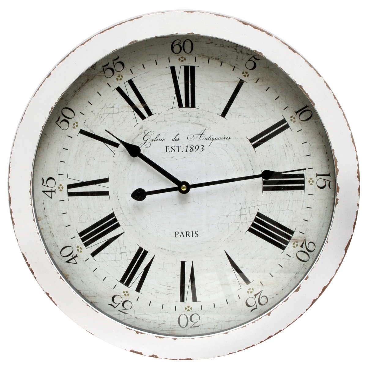 Florence Edna Vintage Thick Distressed White Wood Wall Clock 60cm WJ097G 1