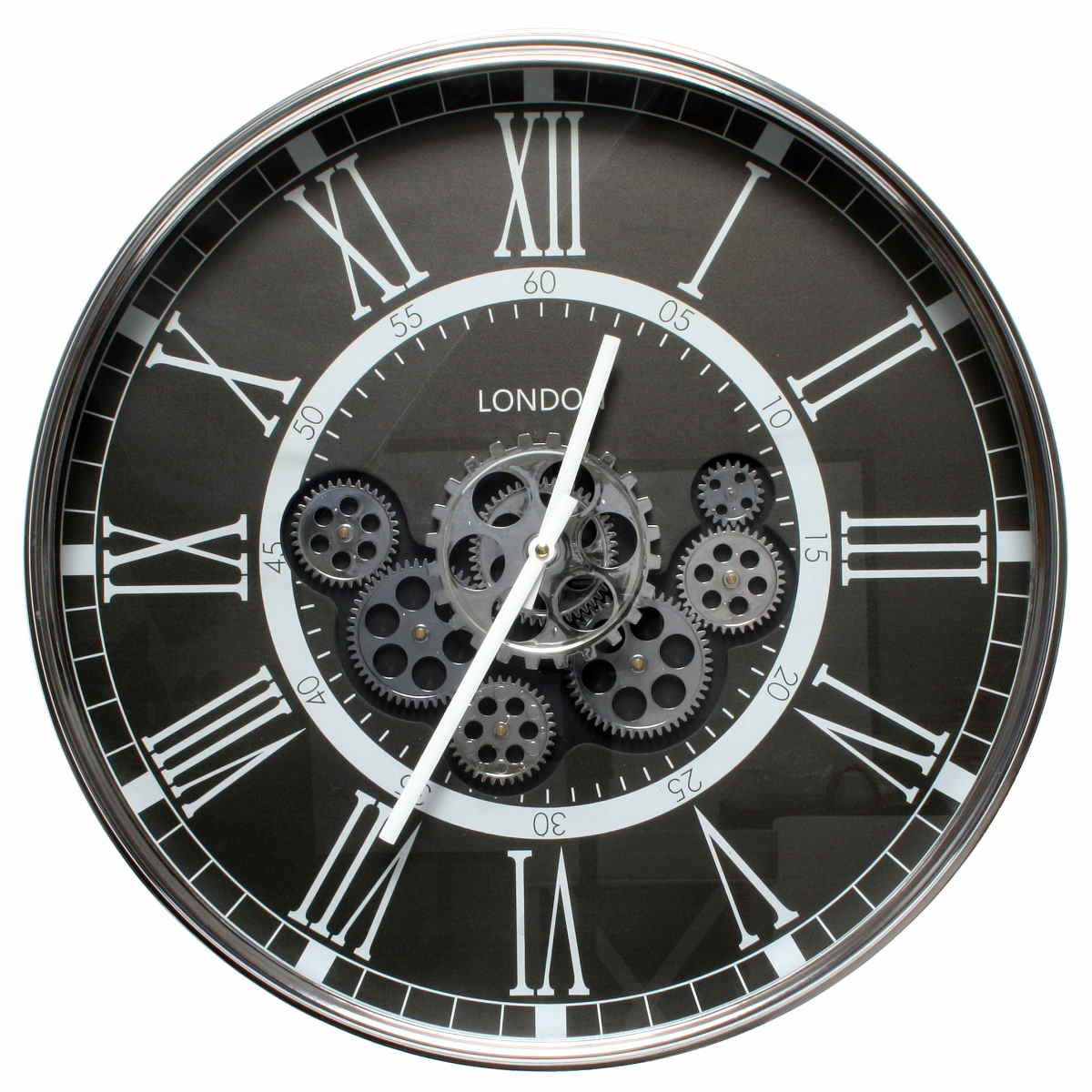 Florence London Moving Gears Wall Clock Black 54cm WJ091B 1