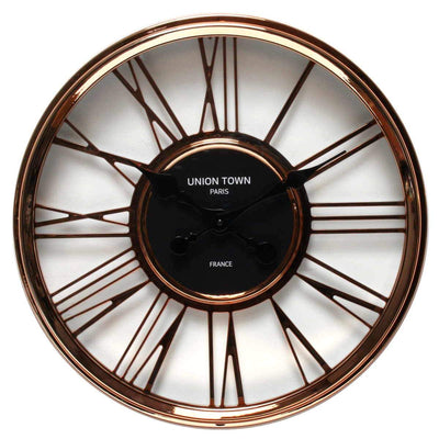 Florence Union Town Paris Floating Roman Rose Gold Wall Clock 44cm WJ093F 1