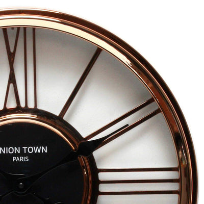 Florence Union Town Paris Floating Roman Rose Gold Wall Clock 44cm WJ093F 2