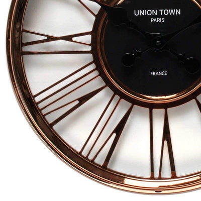 Florence Union Town Paris Floating Roman Rose Gold Wall Clock 44cm WJ093F 3