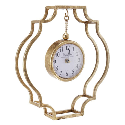 Happy Time Gold Frame Mantel Clock 32cm Angle 43111