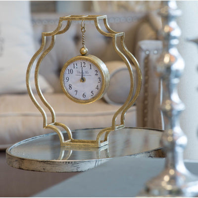 Happy Time Gold Frame Mantel Clock 32cm Glamour 43111