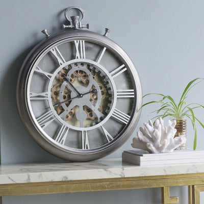 Hereford Iron Gears FOB Pocket Wall Clock 62cm Angle 42154