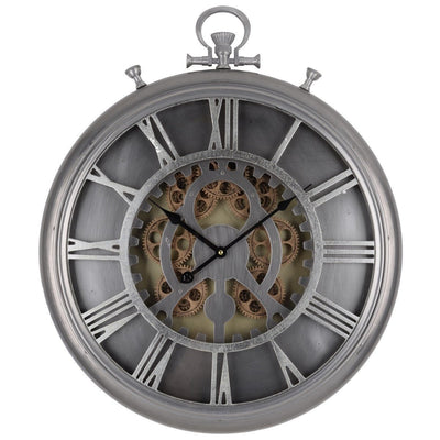 Hereford Iron Gears FOB Pocket Wall Clock 62cm Front 42154