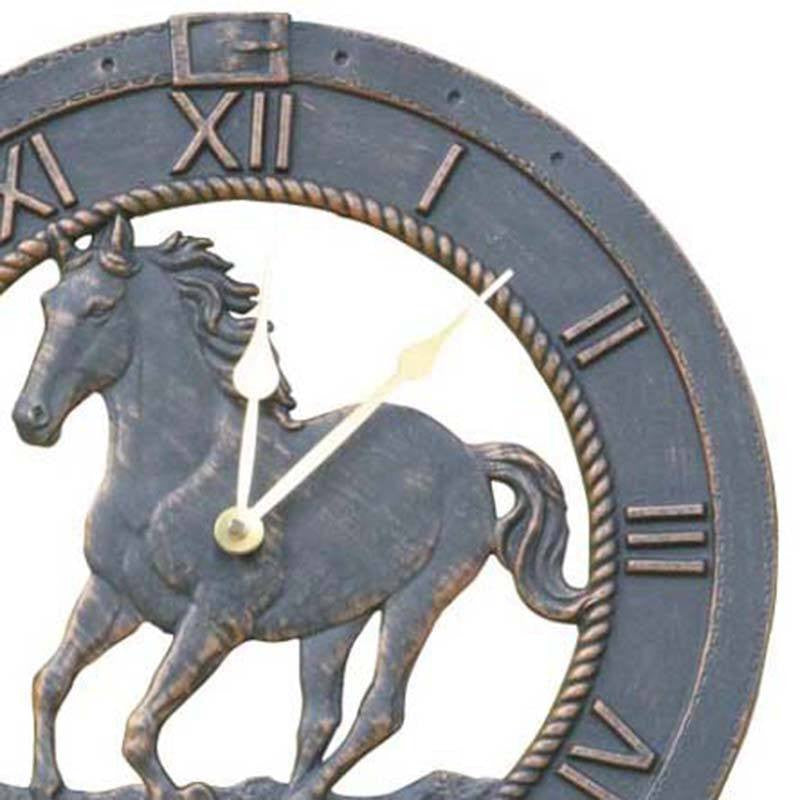 Horse Cast Aluminium Outdoor Wall Clock, 38cm