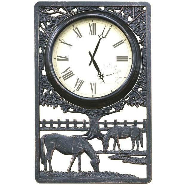Horses Cast Aluminium Thermometer Outdoor Wall Clock 72cm CT-C28