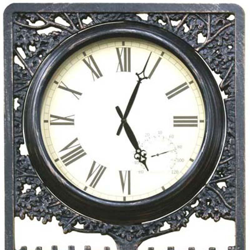 Horses Cast Aluminium Thermometer Outdoor Wall Clock, 72cm
