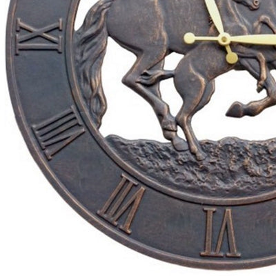 Running Horses Cast Aluminium Outdoor Wall Clock 58cm ICRL-R14 Bottom
