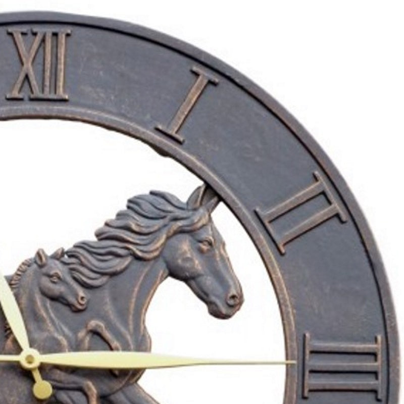 Running Horses Cast Aluminium Outdoor Wall Clock 58cm ICRL-R14 Front