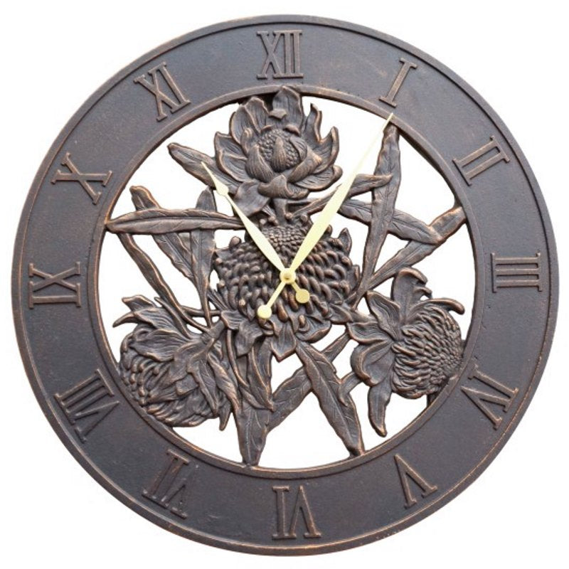 Waratah Flower Cast Aluminium Outdoor Wall Clock, 58cm