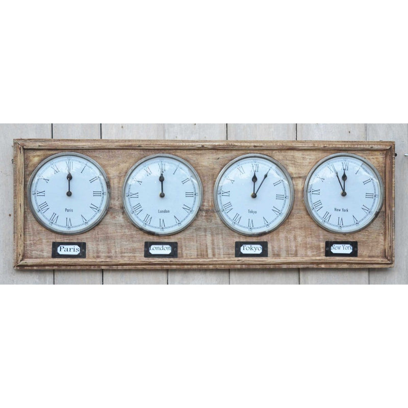 Industrial Timber World Wall Clock 76cm M7185 Front1