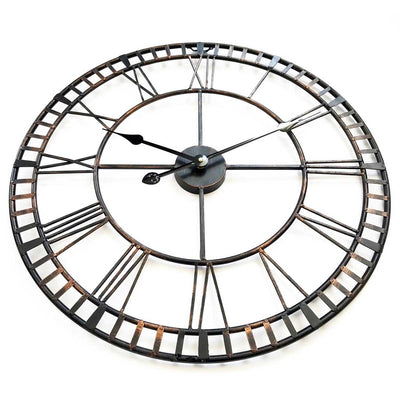 Ivory and Deene Hampton Wrought Iron Metal Black and Bronze Wall Clock 60cm ID1013 2