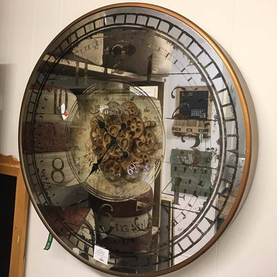 Large Round Mirror Moving Cogs Wall Clock Glamour 82cm Casual 38535