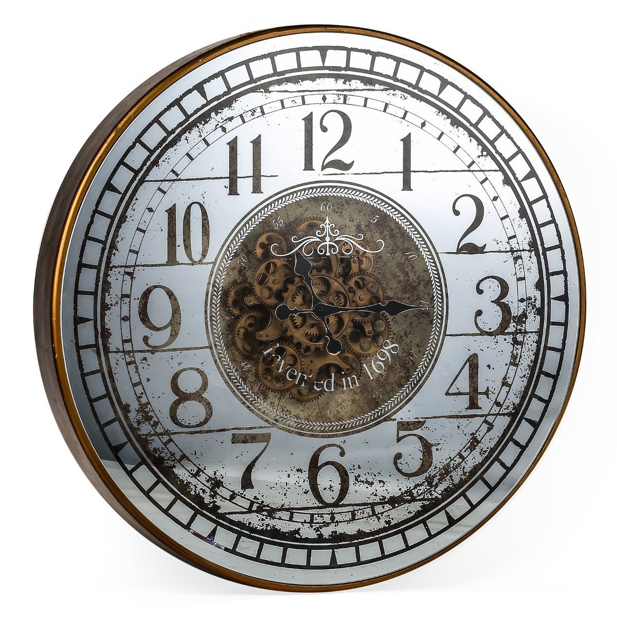 New large round mirror moving cogs wall clock 82cm ebay new large round mirror moving cogs wall clock 82cm amipublicfo Image collections