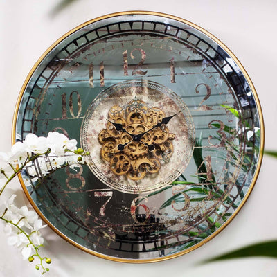 Buy Suffolk Large Round Mirror Moving Cogs Wall Clock 82cm