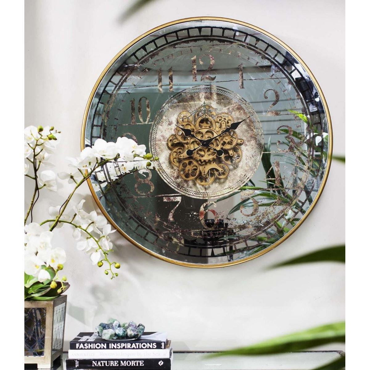 Suffolk Large Round Mirror Moving Cogs Metal Wall Clock, 82cm