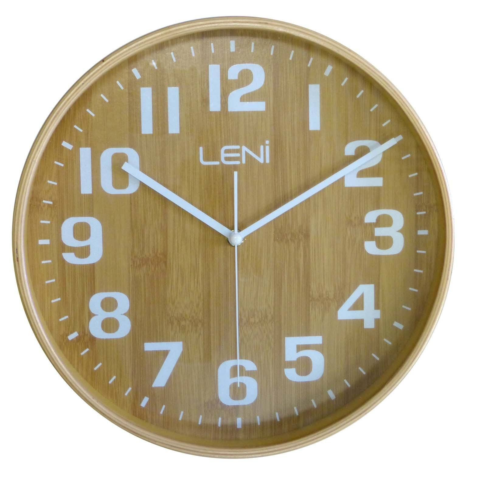 Leni Wood Wall Clock, Bamboo, Small, 28cm